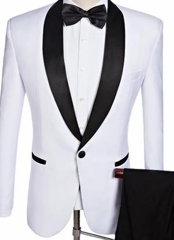custom Veste Image 2 Sur Made Fit Marié Robe Blanc Pantalon The Costume Mariage Ensemble Qualité Hommes Pièce Smoking As Haute De Slim Noir Mesure wF6xIqWBa1