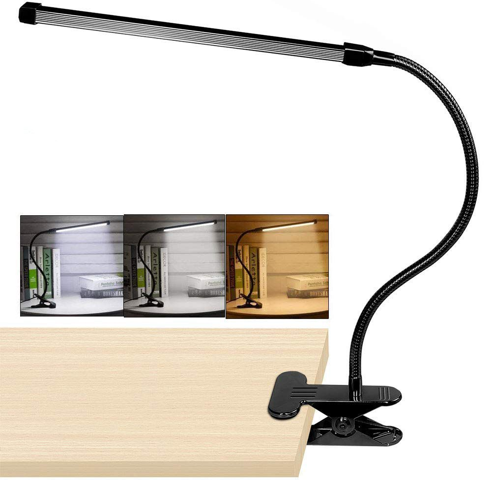 8W LED Clip On Desk Lamp With 3 Modes 2M Cable Dimmer 10 Levels Clamp Table Lamp