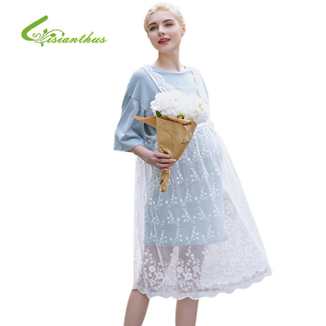 13b6e53f39f Maternity Dresses Pregnancy Clothing Pink Blue Short Sleeves Summer Pregnant  Dress Women With Hollow Lace Dresses