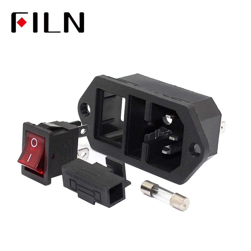 AC 250V 10A 3P Red LED Rocker Switch Fuse Holder Inlet Power Socket Screw Mount