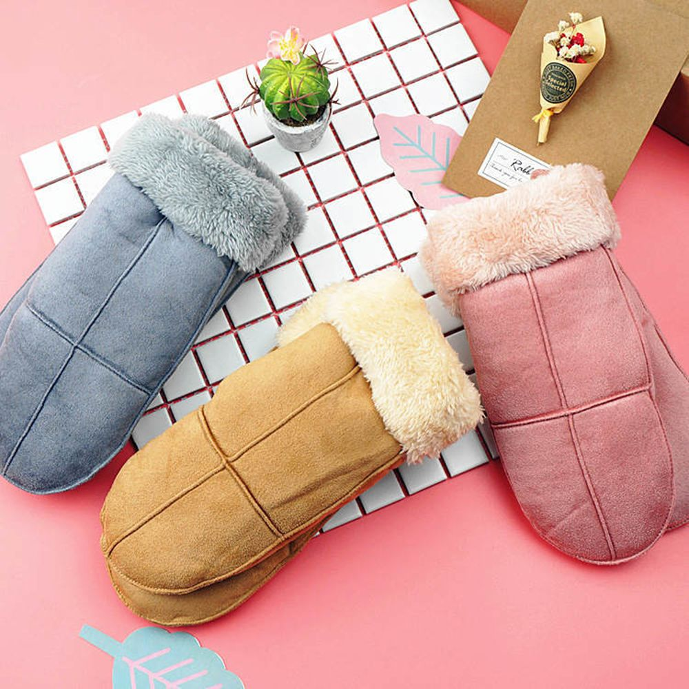 Hot Selling 1 Pair Autumn Winter Suede Leather Thick Warm Gloves Fur Pompom Rabbit Style Glovers Hand Warmer Handwear