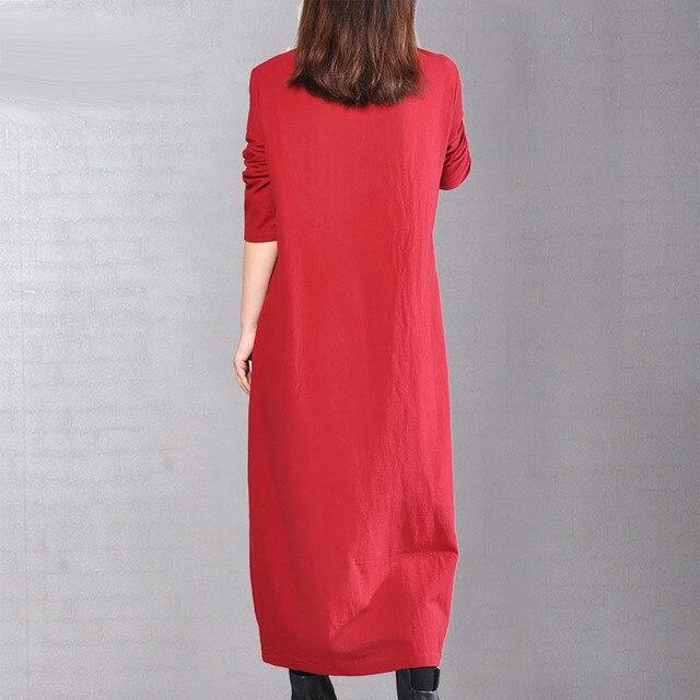 P Ammy  Cotton & Linen Plus Size Retro Plain Mid-Long Dress lagenlook  voguees Trend long shirts linen tunics 1