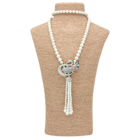 2016 Colorful Crystal Swan Pendant Chain Necklace Beautiful Connector Long Natural Freshwater Shell Pearl Beads Necklace