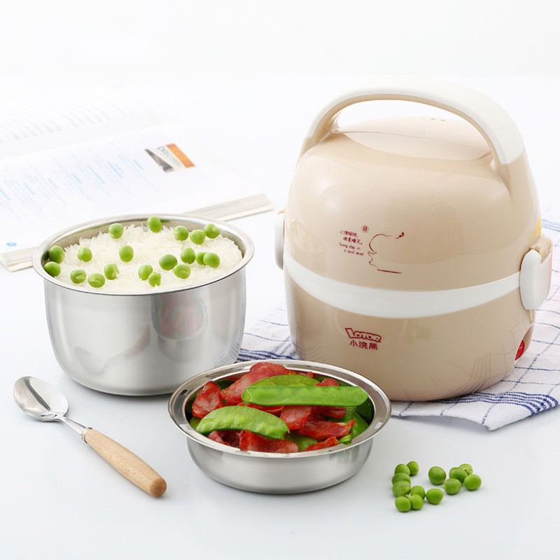 Electric Lunch Box Cooking Lunch Box Small Lunch Box Rice Cooker Multifunction Double Layer Stainless Steel Liner Heating multi function electric lunch box stainless steel tank household pluggable electric heating insulation lunch box