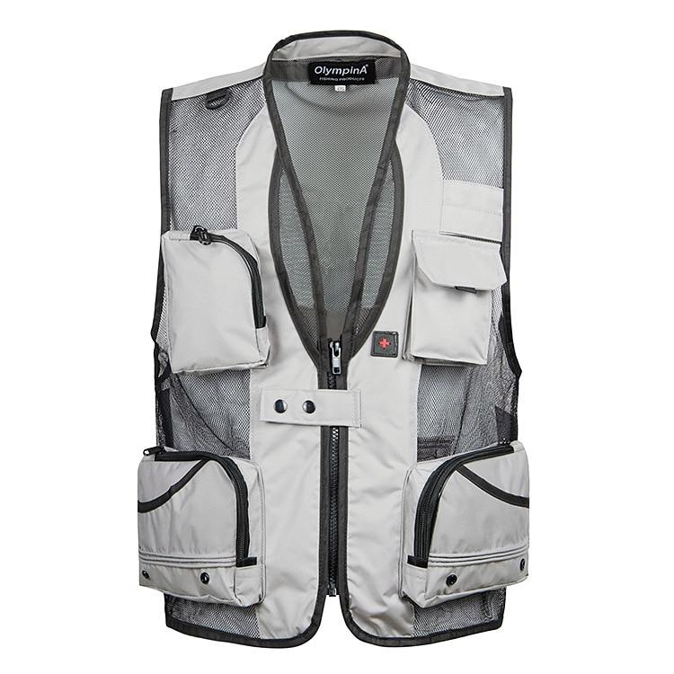 Summer Thin Mesh Vest For Men XL-5XL Casual Photographer Work Outerwear Multi Pocket Waistcoat Male Sleeveless Jacket