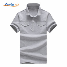 Covrlge ALL Size Fashion Casual Polo Shirt Men Solid Brands British Shirts Lapel Short Sleeve MTP055