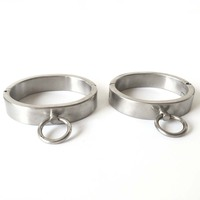 Stainless steel 2CM ankle bracelet, Leg handcuffs elliptical steel ring, male and female sex appeal adult SM binding tool