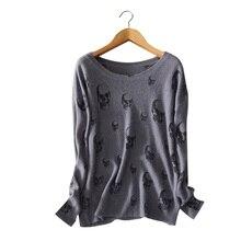 100 pure cashmere skulls pullovers O neck long sleeve purple gray sweater autumn winter standard outwear