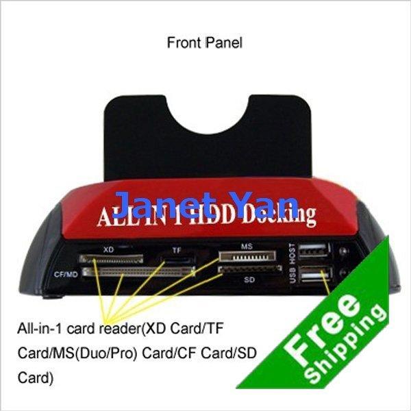 FreeShipping USB IDE ESata SATA DUAL CARD ADAPTER/HUB HDD DOCKING STATION
