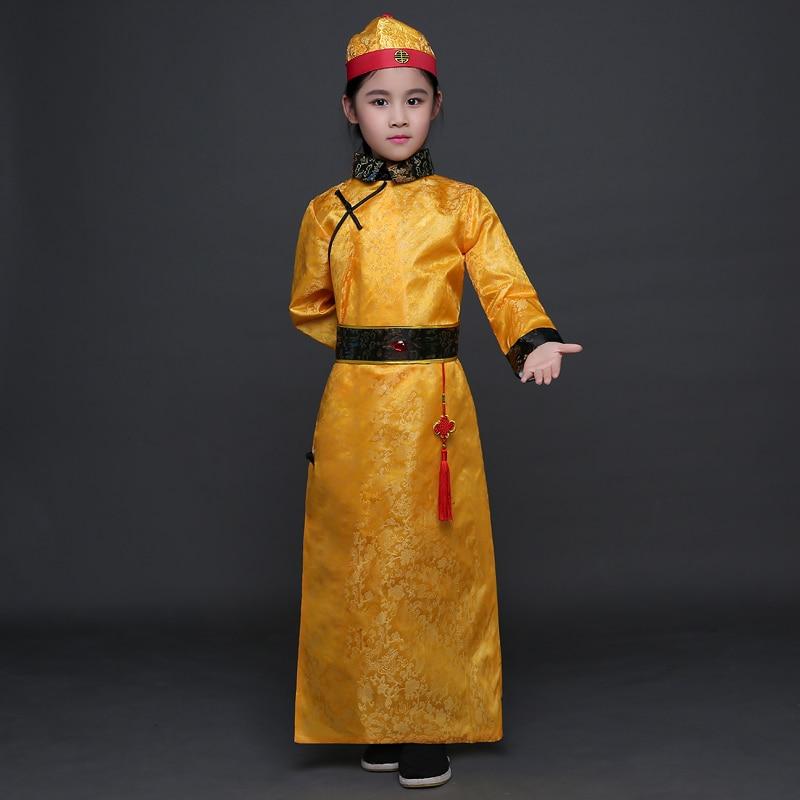 Çocuk Qing Hanedanı Kostüm ile Boy Çocuk Çin Hanfu Şapka - Dans Kıyafetleri ve Sahne Kostümleri - Fotoğraf 4