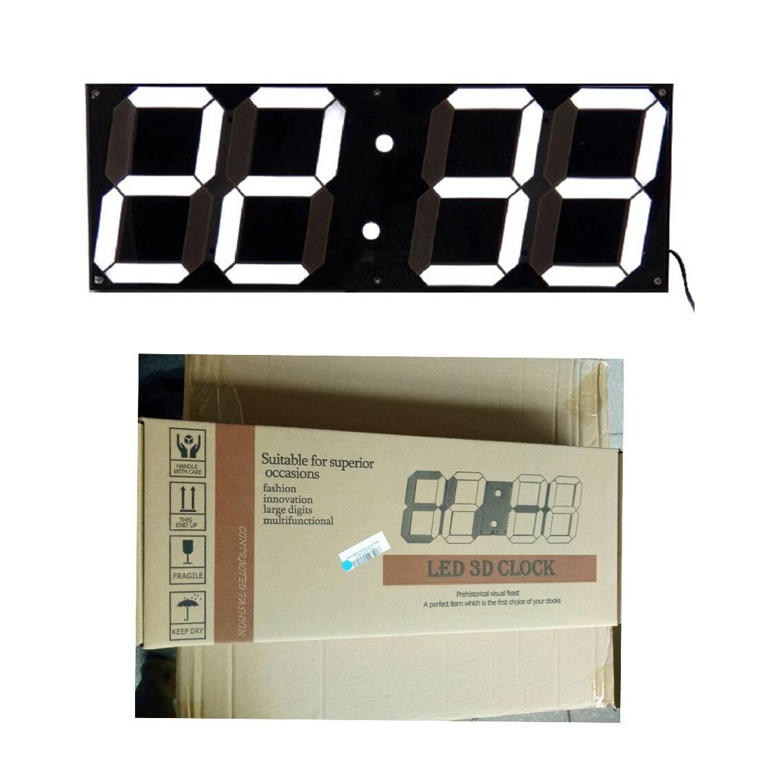 1 Pc 3D LED numérique horloges murales 24 heures affichage luminosité Dimmable veilleuse Snooze fonction pour maison cuisine bureau