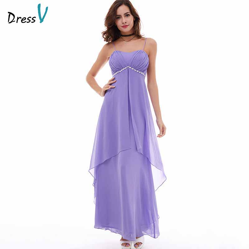 Dressv Lilac Evening Dress Cheap Spaghetti Straps A Line Beaded Chiffon Floor Length Wedding Party Formal Dress Evening Dresses