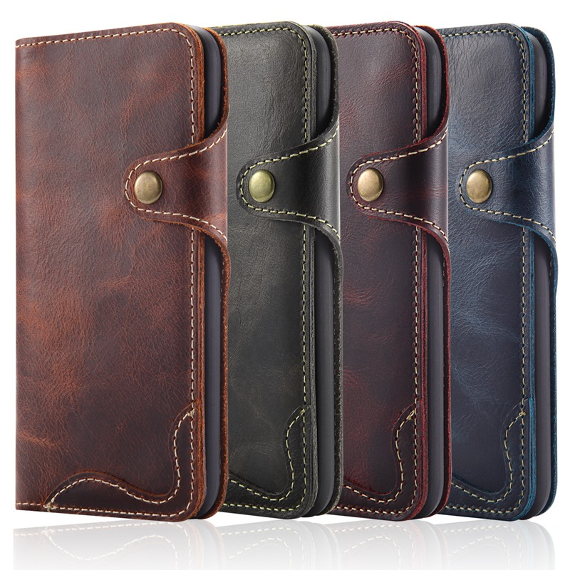 Genuine Leather Phone Case Cover with magnet buckle