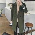 2016 outono e inverno nova moda casual cor sólida espessamento dos homens longa seção Coreano maré Magro jaqueta casaco corta-vento
