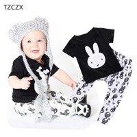 TZCZX-2220 Nuovi Bambini Ragazzi Delle Neonate Del Fumetto Della Novità Coniglio Stampato set Per 6 Mesi a 3 Anni I Bambini Indossano vestiti