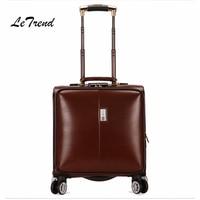 Letrend Бизнес Прокатки Спиннер для багажа Cabin сумка тележка 18 дюймов Won для мужчин вести чемоданы колёса дорожная для мужчин кожаный багажник