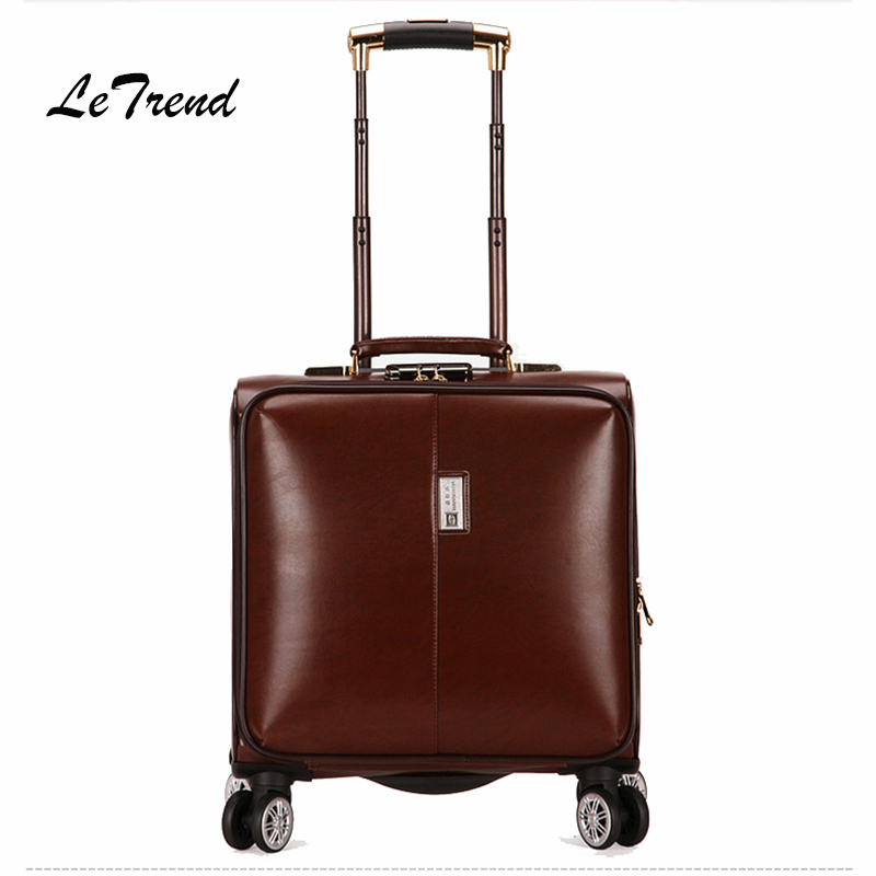 Letrend Business Rolling Luggage Spinner Cabin Trolley Bag 18 inch Wonmen Carry On Suitcases Wheels Travel Bag Men Leather Trunk black business oxford travel bag rolling luggage spinner suitcase wheels trolley case 18 inch men backpack cabin trunk