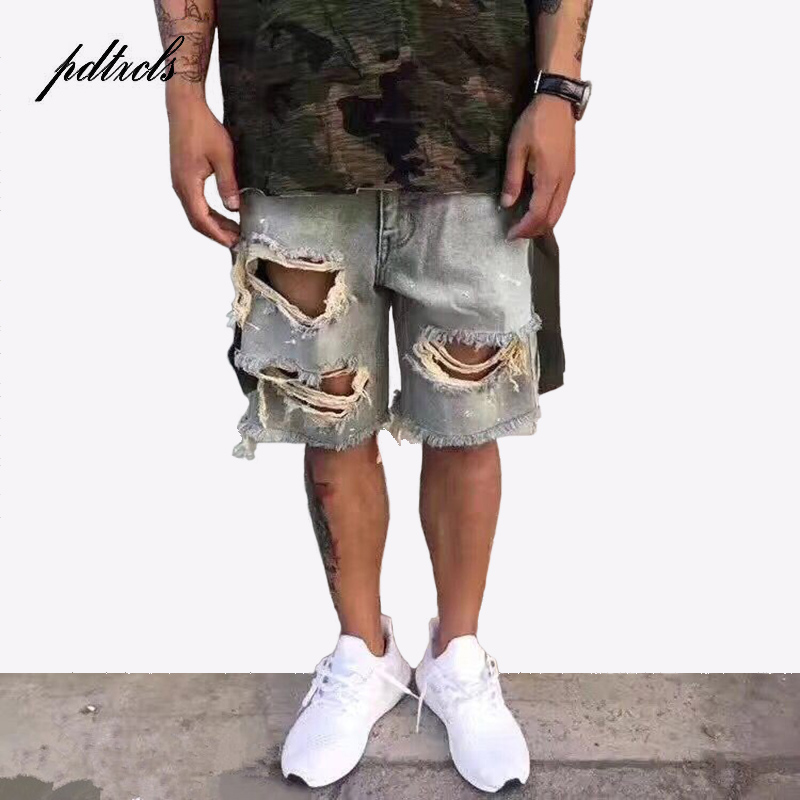 49New Ripped Destroyed Distressed Denim Jeans 2018 Mens Hole Denim Male Hip Hop Casual Dot Knee Length Jeans Moustache Effect
