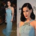 2015 Novos Chegada da Alta Qualidade Da Sereia Vestidos de Baile Halter Luz Azul Até O Chão Chiffon Frisada Vestidos No Tapete Vermelho Vestido de Noite