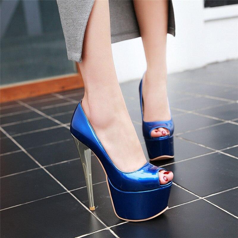 Chaussures Rouge Extreme Ymechic Soirée Toe D'été Bleu Sexy Bleu rouge Mince vin Talons 2018 Europe Escarpins Peep Hauts Plateformes Dames Discothèque De Femmes tsQrdh
