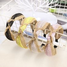 Pastoral Style Handmade Weaving Wide Headband Women Girls Contrast Color Floral Lace Splicing Hair Hoop Twist Knotted Headwear