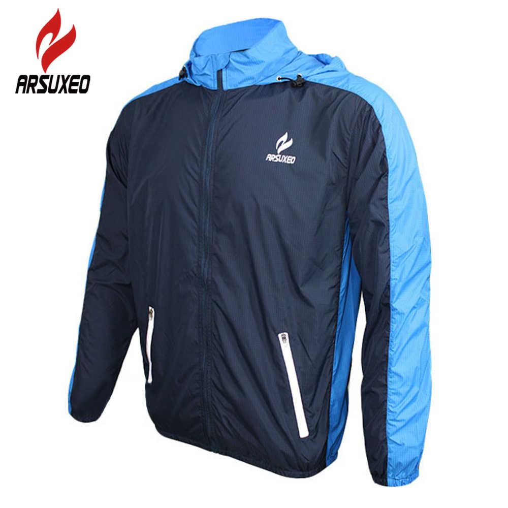 ARSUXEO Men Cycling Jersey Windproof Jacket Zipper Pocket Breathable Bike Coat