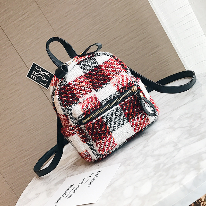 2017 Fashion New Women Backpacks Hit color Wool Quality Shoulder bag College winds Stripes Small Backpack Mini Travel Rucksack