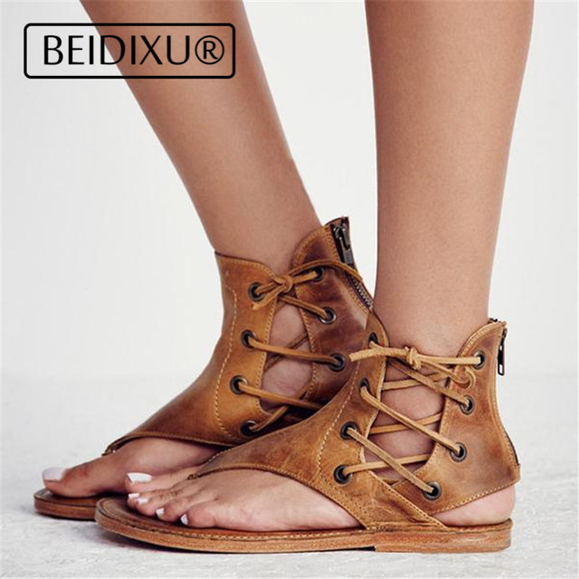 1e694aa51983 BEIDIXU PENG Women Sandals Roman Style Lace up PU Leather Gladiator Vintage Thong  Flat Flip-Flops Sandals Casual Beach Shoes