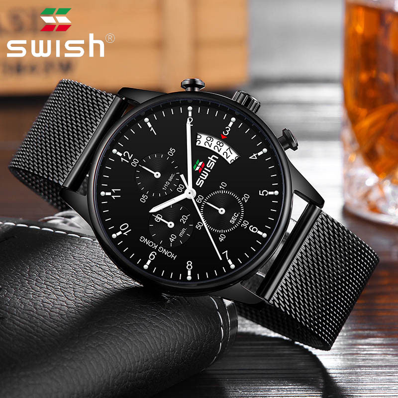 SWISH 2019 Quartz Watch Top Brand Watch Men's Calendar Sports Waterproof Wrist Watches Men 3colors Stainless Steel Watch