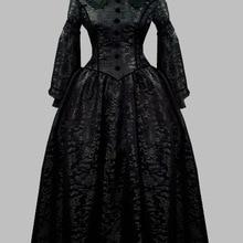 Чисто черное готическое викторианское платье длинная викторианская одежда