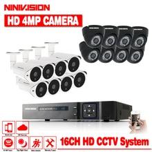 NINIVISION 4MP CCTV System DVR 16PCS 4.0MP IR Weatherproof O