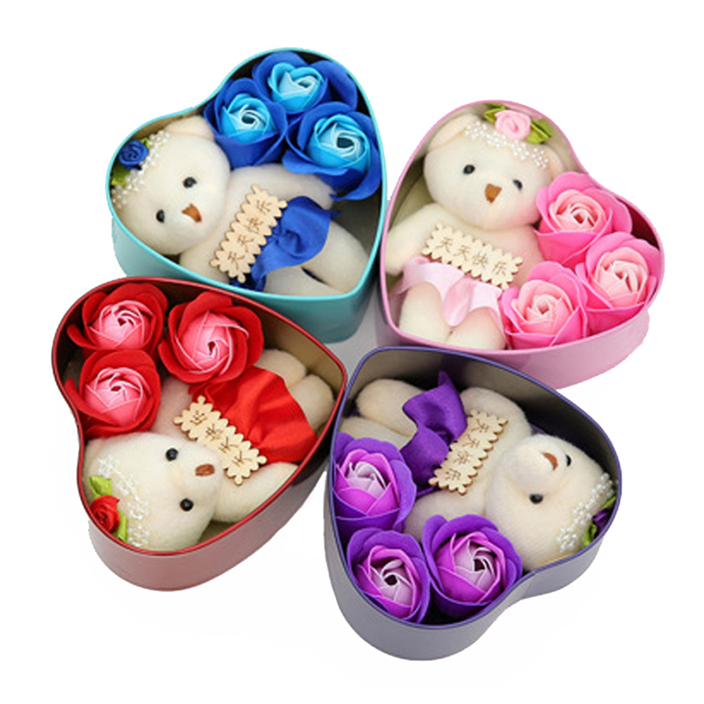 Heart-Shaped Rose Soap Flower With Plush Animal Toys Bear Doll Romantic Wedding Party Flower Petals Decor Party Toys With Box