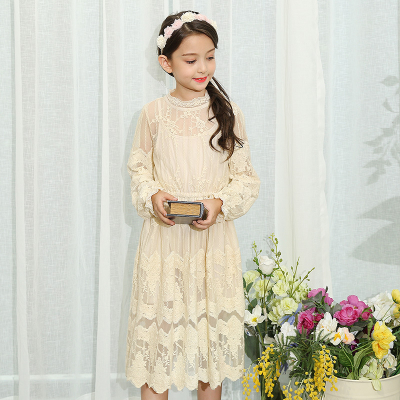 Girls Autumn Lace Dress Girls Princess Dresses Kids Embroidery Petal Long Sleeve Party Clothing England Style for 4y-12y