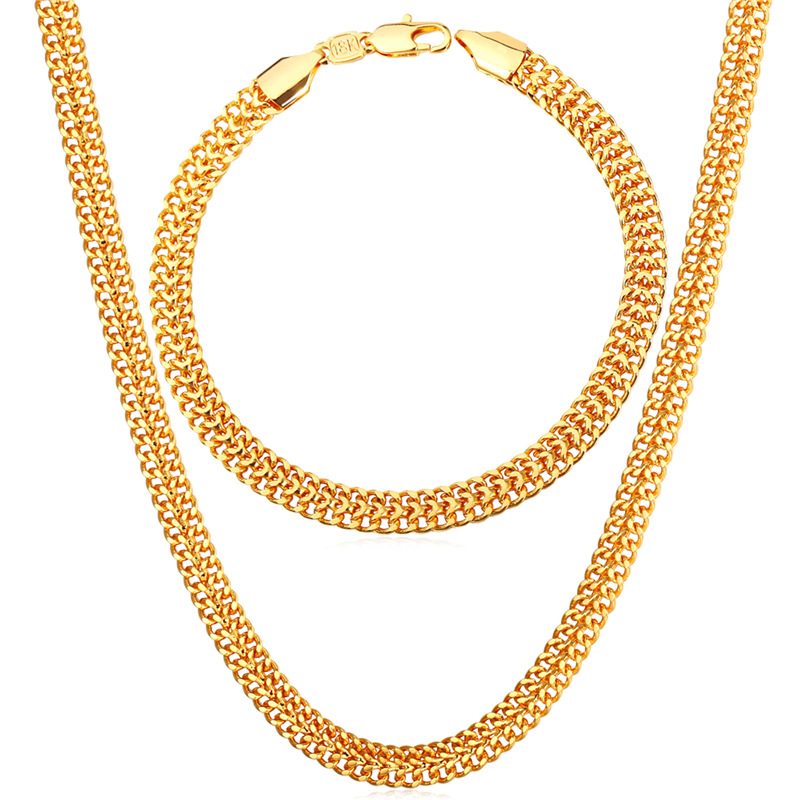 Collare Mesh Chain Men Jewelry Sets Gold/Rose Gold/Silver Color ...