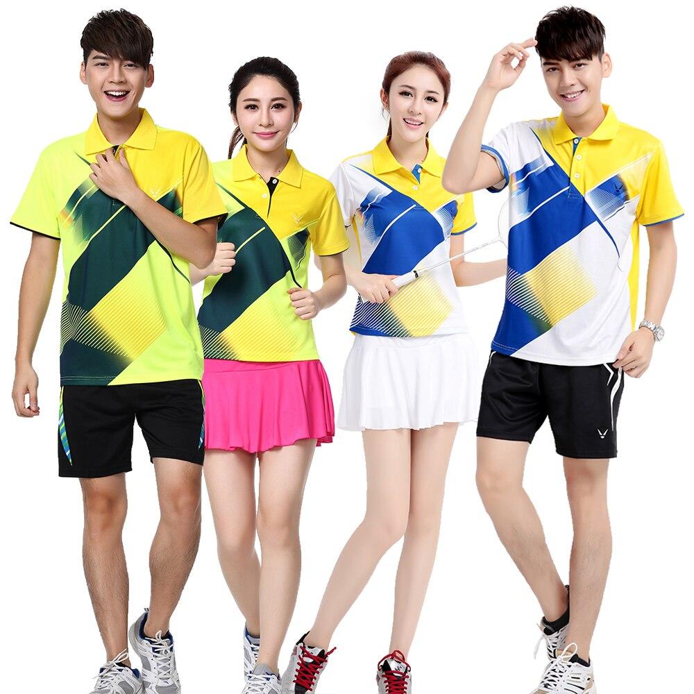 Adsmoney Women/Men tennis clothes Suit team game training short sleeve POLO T Shirts + Skirts badminton shirt shorts
