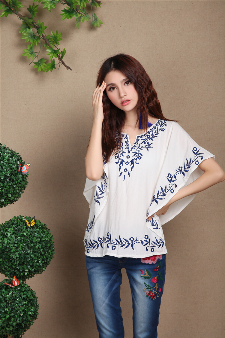 0a026dbff1fd5 Hot Sale Summer New Cotton Embroidered Loose Plus Size Women s Short-sleeve  Shirt Casual Peasant Blouse Free Shipping