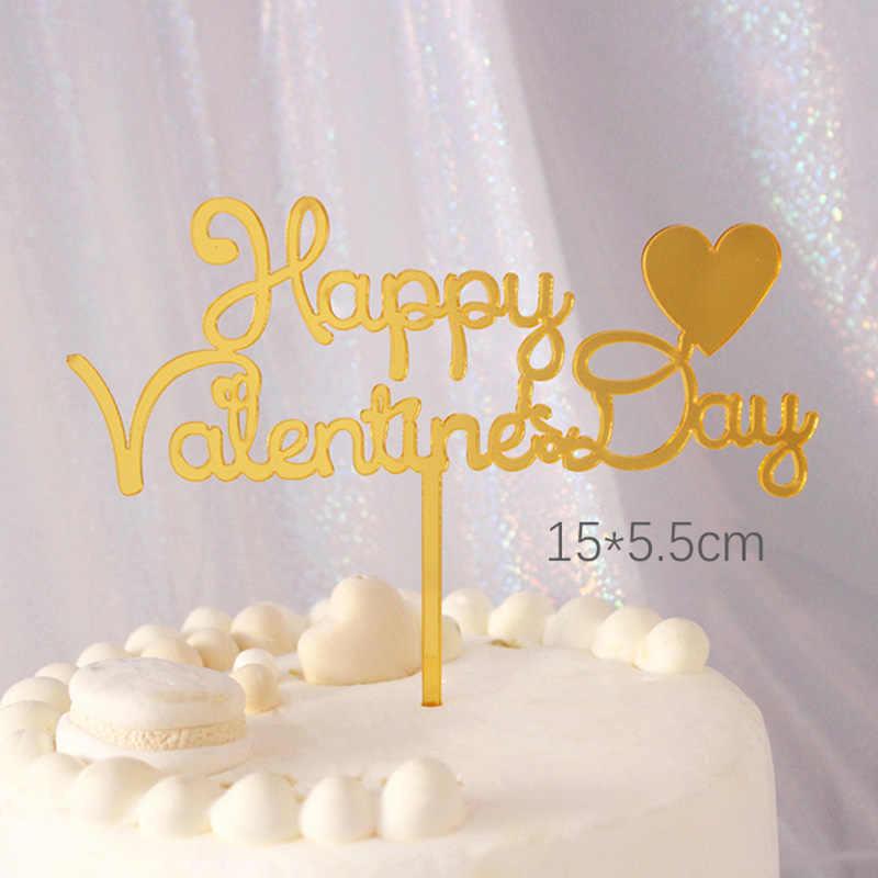Decoração de bolo de acrílico, brinco de confeitaria vermelho dourado para decoração de bolo de aniversário feliz dia dos namorados 2020