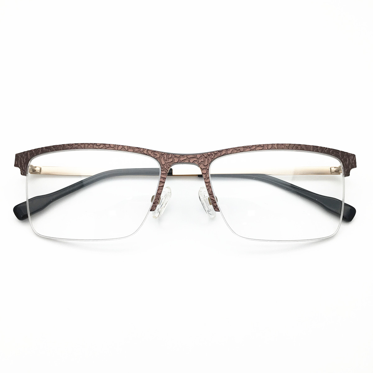 2019  New Arrival Half Rimless Alloy  Brown Color Stone Material Front Rim Optical Eyeglasses Frame for Men and Women Eyewear