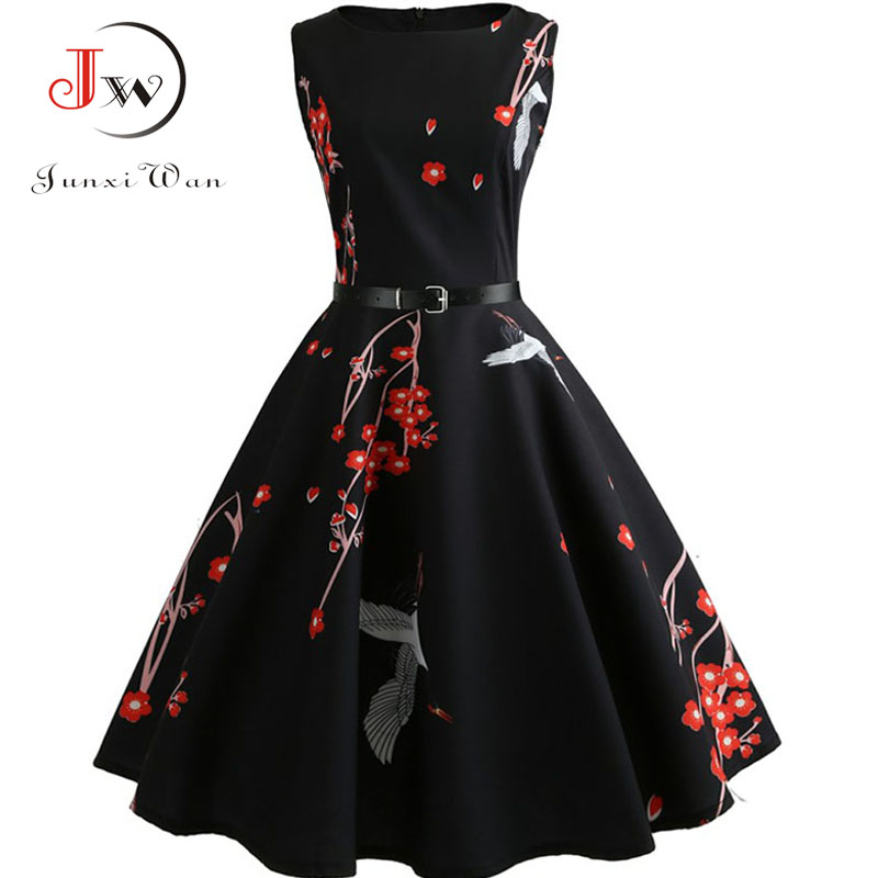 Women Summer Dress Floral Print Retro Vintage 1950s 60s Casual Party Office Robe Rockabilly Dresses Plus Size Vestido Mujer 4