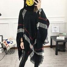 2018 Autumn 13 Colors Women Wool Plaid Cardigan Casual Style Turtleneck Tassel Cape Batwing Sleeve Knit Sweater batwing sleeve wool cape coat