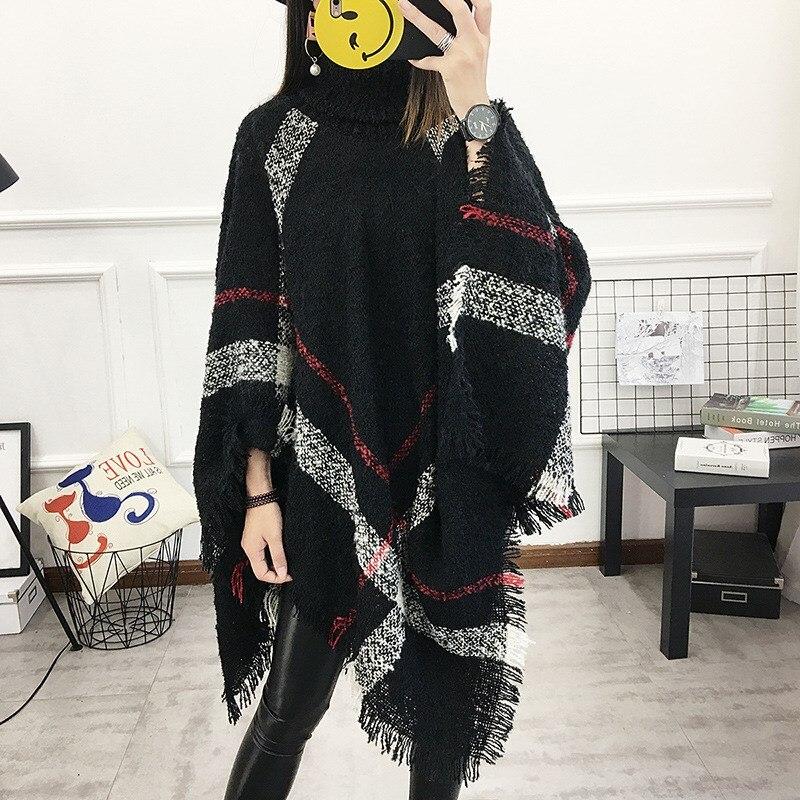 2018 Herbst 13 Farben Frauen Wolle Plaid Strickjacke Casual Stil Rollkragen Quaste Kap Fledermaus Ärmel Stricken Pullover Durchsichtig In Sicht