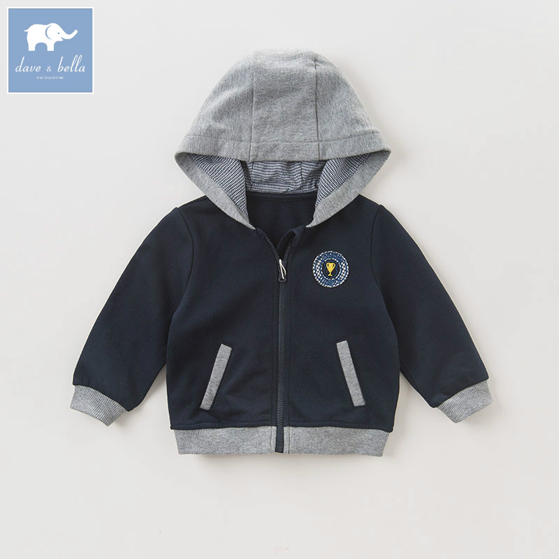 DB5479 dave bella autumn infant baby boys fashion coat kids toddler Hooded children hight quality clothes db6124 dave bella autumn infant baby boys girls coat fashion clothes toddler boys print hooded coats children high quality