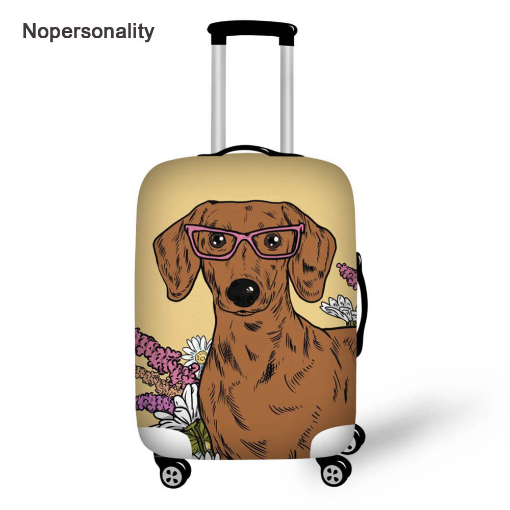 Nopersonality Floral Dachshund Dog Printing Luggage Protective Dust Cover Cute Travel Suitcase Cover For 18-32inch Trunk Case