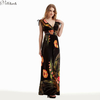 2016 Womens Summer Elegant Vintage Boho Beach Clothing Ladies Bohemian Print Maxi Long Dress Plus Size