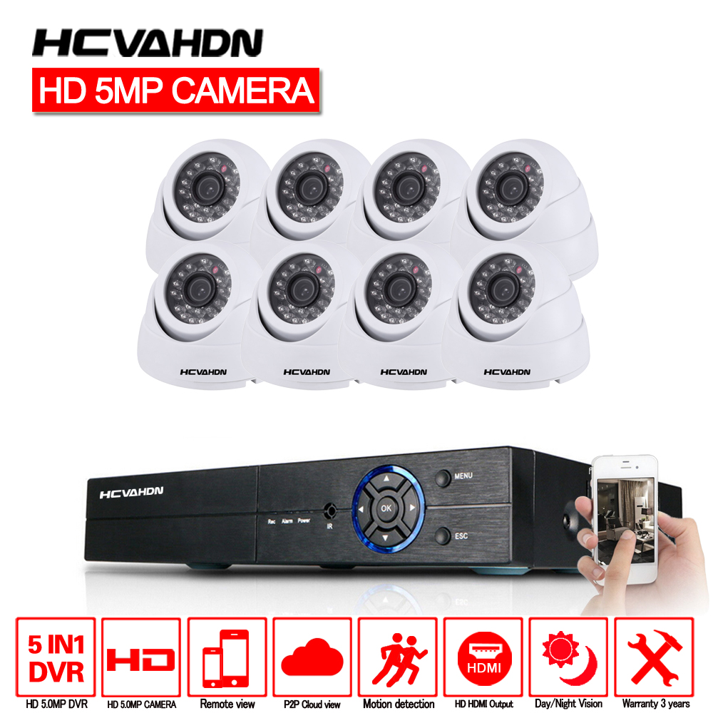 HCVAHDN 5MP CCTV di Sorveglianza Kit 5.0MP Sistema di Telecamere di Sicurezza 8ch DVR 1944 p Uscita Video Kit CCTV Facile Vista A Distanza sul Telefono
