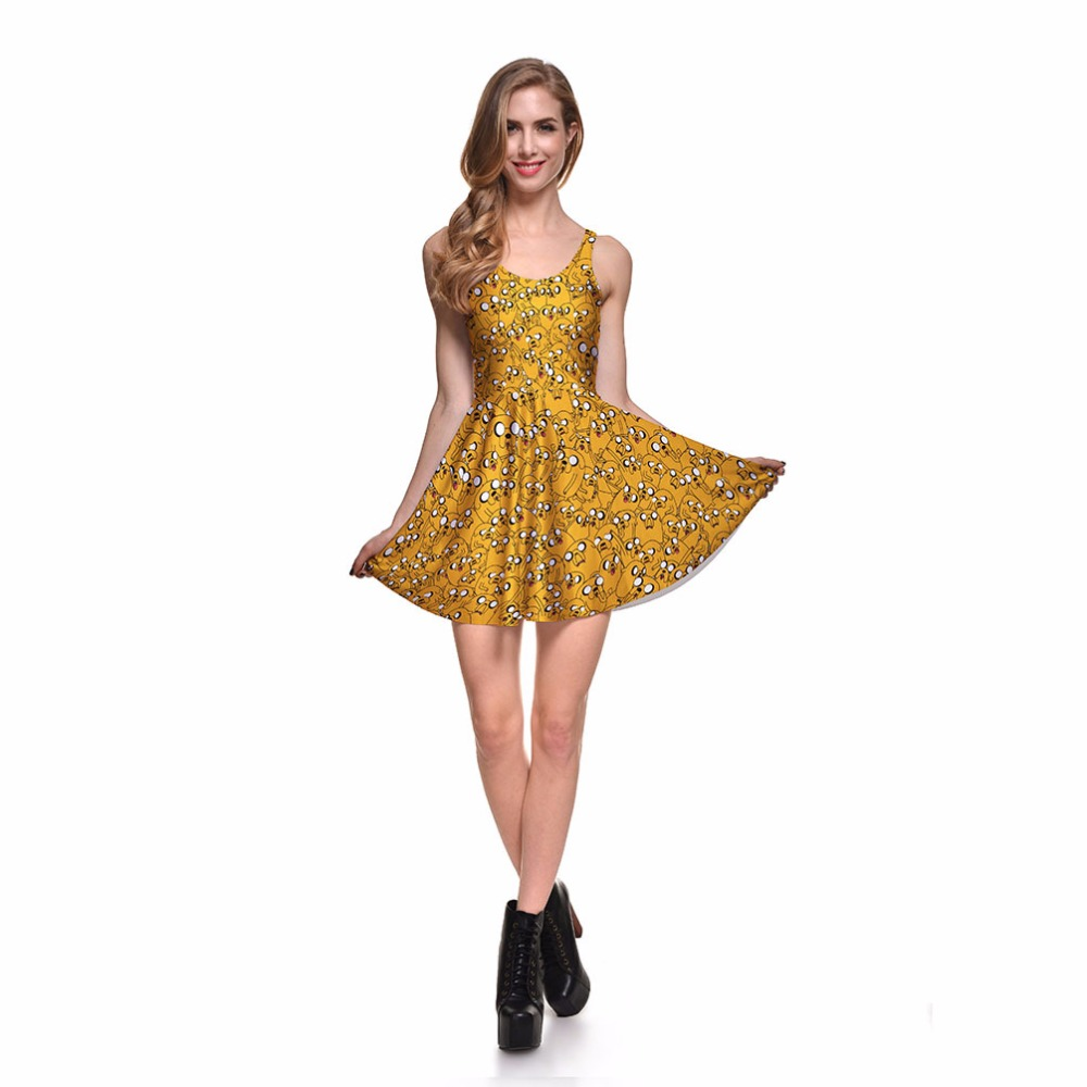 7cc201bb010bd NEW Arrival 1002 Sexy Girl Women Summer Adventure Time Dog Jake 3D Print  Reversible Sleeveless Skater Pleated Dress Plus size-in Dresses from  Women's ...