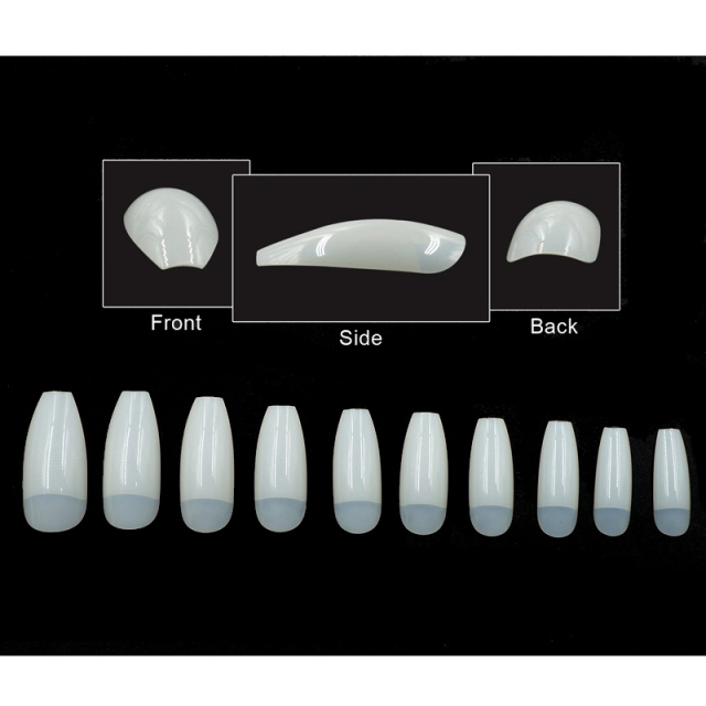 500Pcs/bag Coffin Nails Long Ballerina Nail Tips Square Head French Fake False Nails ABS Artificial 10 Sizes Nature Transparent  4