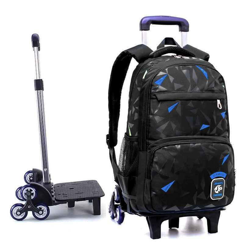 224e8a64bdb7 4-9 классов Дети школьный ранец на колесиках книга сумки мальчики девочки  рюкзак водостойкие съемные