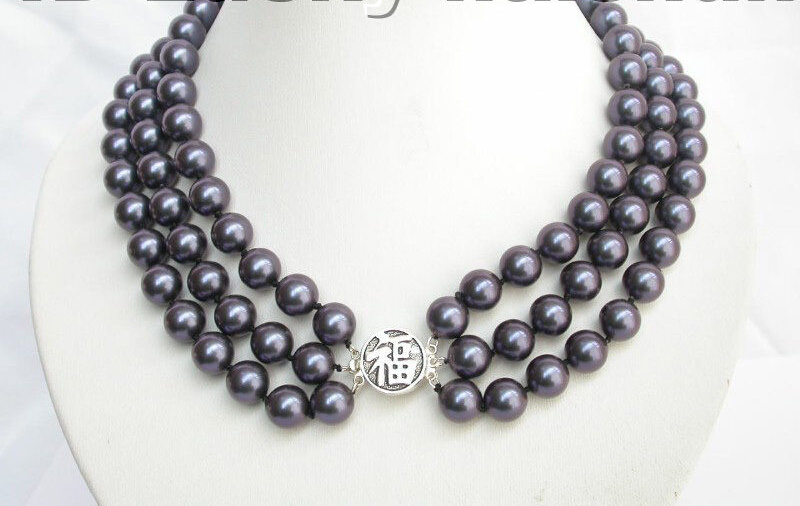 3row ronde marine blue sea shell perles collier 925SS Noble style Naturel Fine jewe Rapide GRATUITE (B0409)