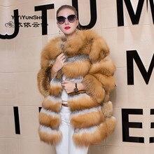 Yiyyunshu Модное теплое зимнее пальто из натурального Лисьего меха для женщин, красная Лисичка, длинная толстая куртка из натурального меха, верхняя одежда из натурального меха для женщин